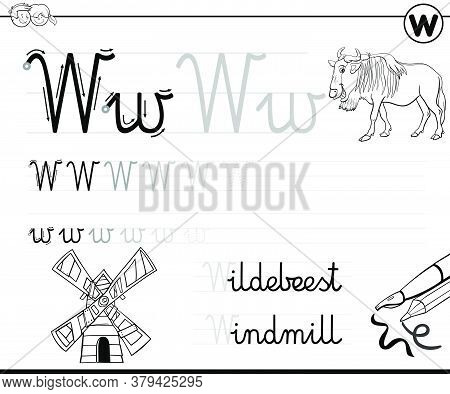 Black And White Cartoon Illustration Of Writing Skills Practice Worksheet With Letter W For Preschoo