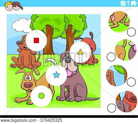 Cartoon Illustration Of Educational Match The Pieces Jigsaw Puzzle Game For Children With Dogs Anima