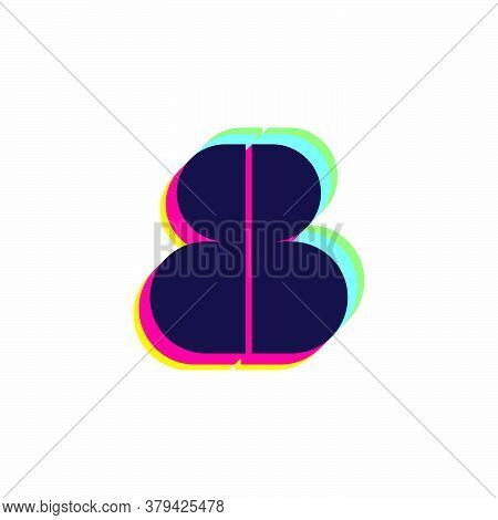 Number Eight Logo With Stereo Effect. Vibrant Glossy Colors Font Perfect To Use In Any Disco Labels,