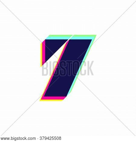 Number Seven Logo With Stereo Effect. Vibrant Glossy Colors Font Perfect To Use In Any Disco Labels,