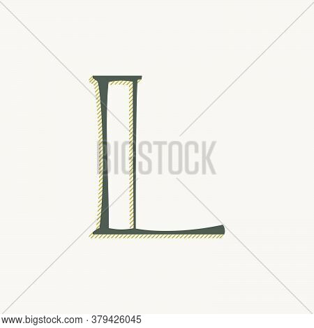 Elegant L Letter Serif Font Logo. Classic Thin Pen Lettering With Shadow Lines. Luxury Vector Illust