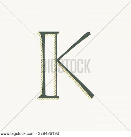 Elegant K Letter Serif Font Logo. Classic Thin Pen Lettering With Shadow Lines. Luxury Vector Illust