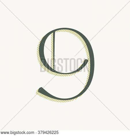 Elegant Number Nine Serif Font. Classic Thin Pen Lettering With Shadow Lines. Luxury Vector Illustra