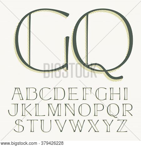 Elegant Alphabet Letters Serif Font. Classic Thin Pen Lettering With Shadow Lines. Luxury Vector Ill