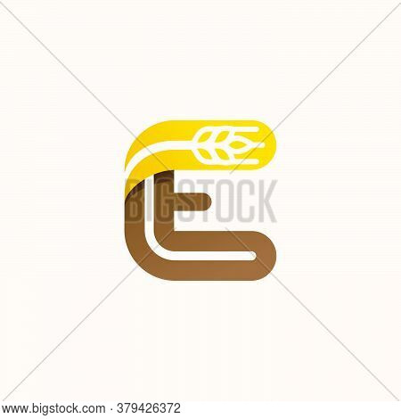 Letter E Logo With Negative Space Wheat. Perfect Vector Font For Bakery Identity, Badges Or Emblems