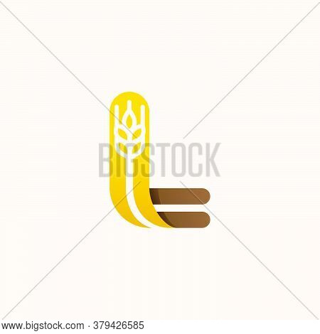 Letter L Logo With Negative Space Wheat. Perfect Vector Font For Bakery Identity, Badges Or Emblems