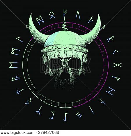 T-shirt Vector Design Of A Viking Skull With Horns Over An Inverted Star And Runic Characters Isolat