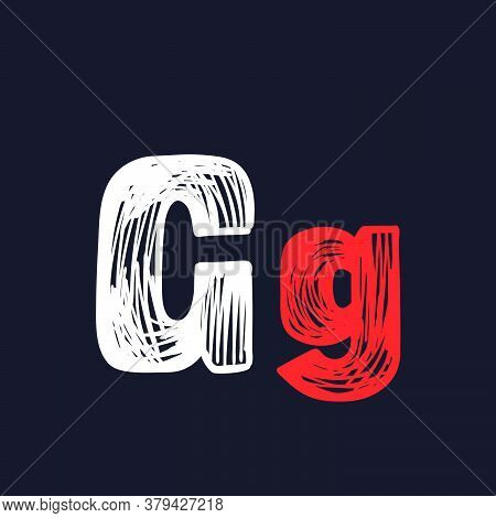 G Letter Hand-drawn By Chalk On A Blackboard. This Font Is Perfect For A School Signboard, Advertisi