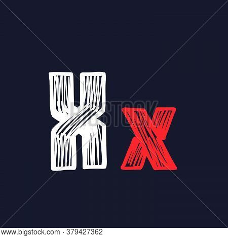 X Letter Hand-drawn By Chalk On A Blackboard. This Font Is Perfect For A School Signboard, Advertisi