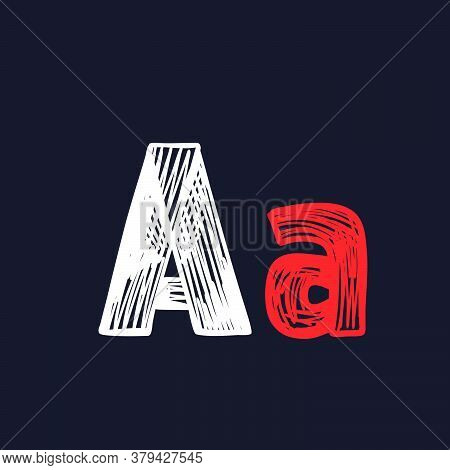 Letter A Hand-drawn By Chalk On A Blackboard. This Font Is Perfect For A School Signboard, Advertisi