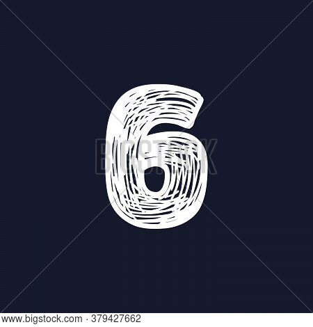 Number Six Hand-drawn By Chalk On A Blackboard. This Font Is Perfect For A School Signboard, Adverti