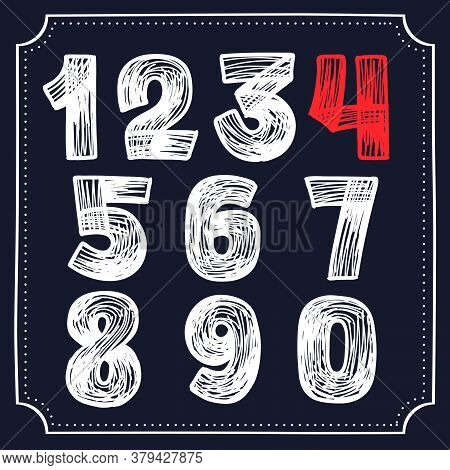 Numbers Set Hand-drawn By Chalk On A Blackboard. This Font Is Perfect For A School Signboard, Advert