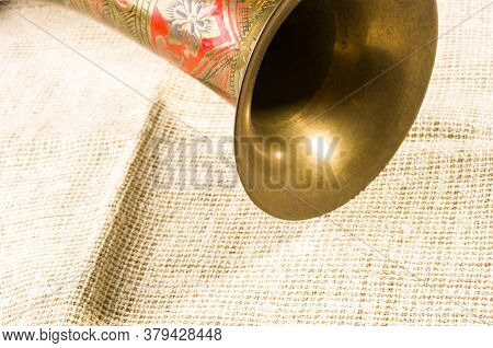 Rustic Coarse Canvas Fabric And A Copper Jug With Ornament, Close-up, Background