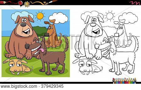 Cartoon Illustration Of Dogs And Puppies Animal Characters Group Coloring Book Page