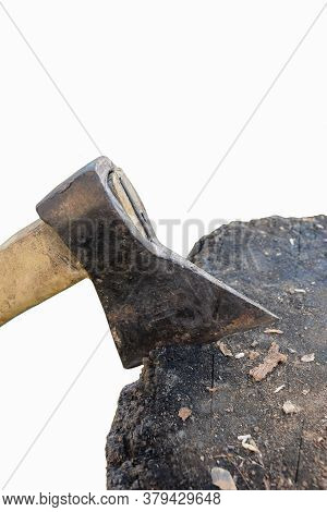 Ax Stuck In Wooden Deck On White Clipping Background