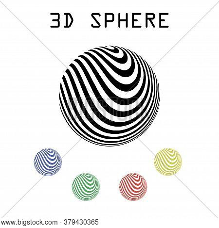 Optical Illusion Sphere. Striped Balls 3d. Abstract 3d Black And White Illusions. Horizontal Lines S