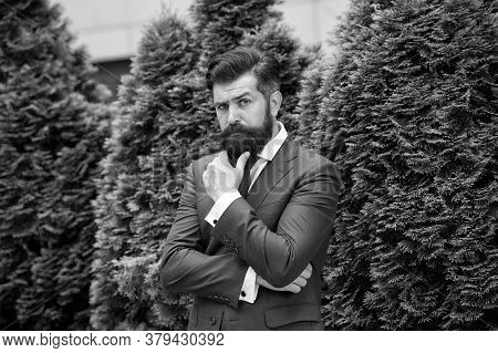 Time For Thought. Business Center. Alone With My Thoughts. Business Man Bearded Wear Fashionable Sui