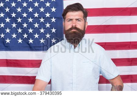 Man Well Groomed Hipster Stylish Appearance American Flag Background, Office Worker Concept.