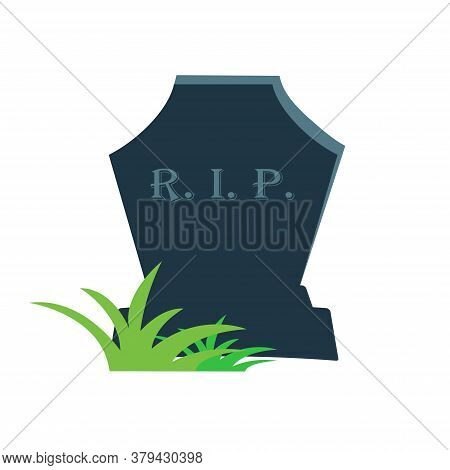 Illustration Of Gravestone With Green. Grave Icon Flat Design Vector.