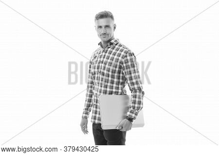 Mobility For Better Life. Handsome Man Hold Laptop Isolated On White. Laptop Computer. Notebook And