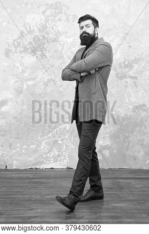 I Am Waiting For You. Male Fashion. Mature Man Businessman. Casual Style. Bearded Hipster Autumn Sty