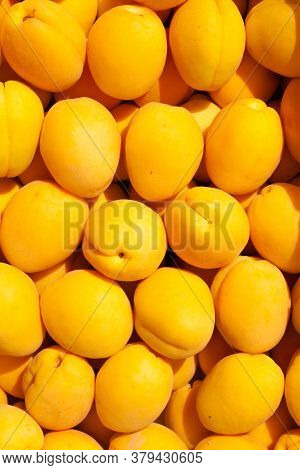 Ripe Fresh Tasty Apricots Fruit Background. Diet Fruit