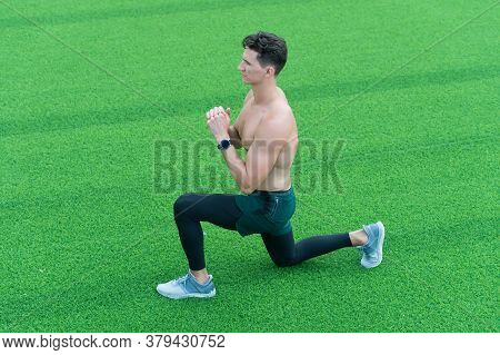 Fitness Outdoors And Life Balance Concept. The Best Exercise For You. Training On Fresh Air. Great P