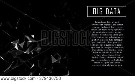 Network Connection Structure. Abstract Black Digital Background. Big Data Visualization. Science Bac