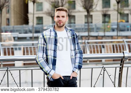 Style You Want At Low Cost. Stylish Boy Stand Urban Outdoors. Stylish Outfit For Men. Summer Street