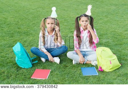 Girls School Pupils Having Fun Together Fresh Air, Just Pretending Concept.