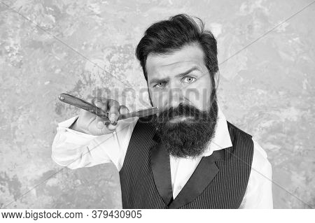 Professional Equipment. Hair Salon. Hair Beard Care. Handsome Brutal Man Shaving Hair. Grooming Rout