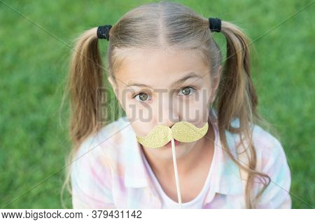 Cheerful Girl Mustache Party Props Open Nature Background, Funny Face Concept.