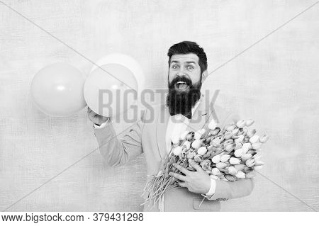 Bearded Man With Tulips. Spring Party. Surprise Party Romantic Proposal Ideas. Present For Spouse. G