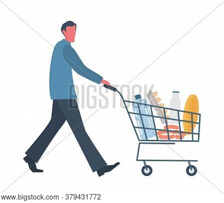 Buyer With Shopping Cart Full Of Food And Drinks.there Is A Bread, A Bottle Of Water, A Milk, Sausag