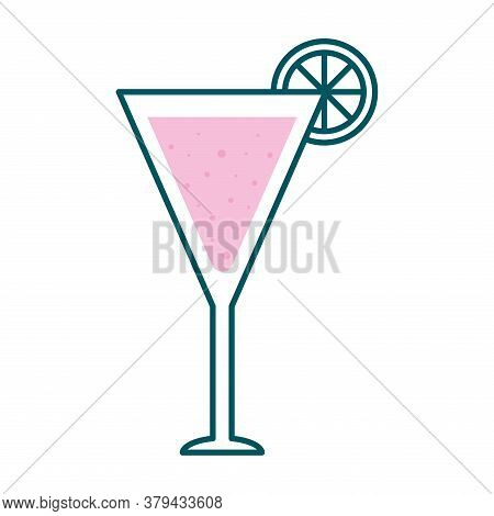 Martini Glass Cup With Lemon Line And Fill Style Icon Design, Alcohol Drink Bar And Beverage Theme V