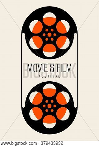 Movie And Film Poster Design Template Background Vintage Film Reel. Graphic Design Element Can Be Us