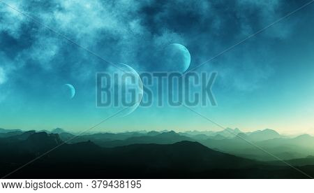 3d Rendered Space Art: Alien Planets - A Fantasy Landscape With Blue Skies And Clouds