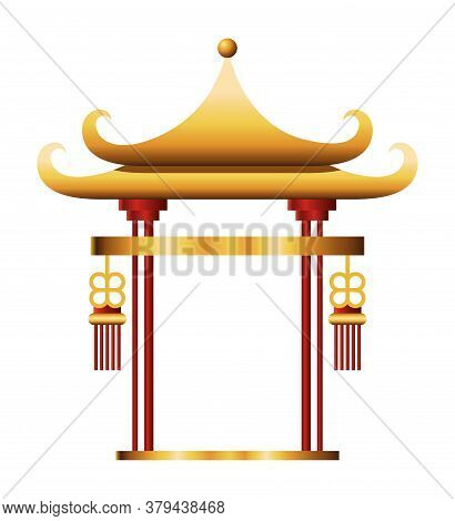 Chinese Gold Arch Design, China Culture Asia Travel Landmark Famous Asian And Oriental Theme Vector