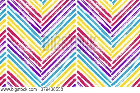 Beautiful Zig Zag Interior Print Vector Seamless Pattern. Paintbrush Strokes Geometric Stripes. Hand