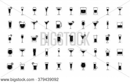 Cocktails Glasses Cups Silhouette Style 50 Icon Set Design, Alcohol Drink Bar And Beverage Theme Vec