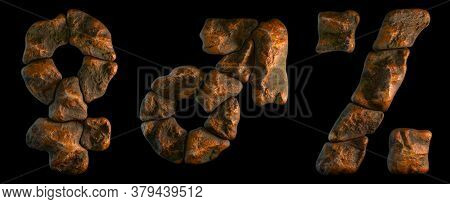 Set of rocky symbols female, male, percent. Font of stone on black background. 3d rendering