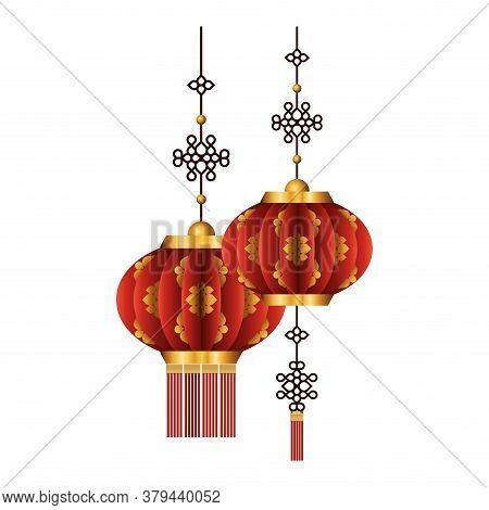 Chinese Red With Gold Lanterns Design, China Culture Asia Travel Landmark Famous Asian And Oriental
