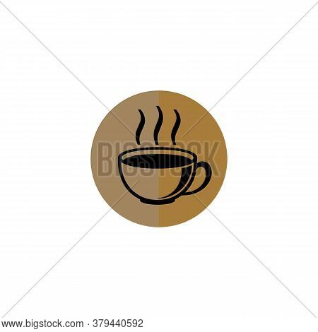 Coffee Cup Icon With Colored Circle Isolated On White Background. Coffee Cup Icon Trendy And Modern