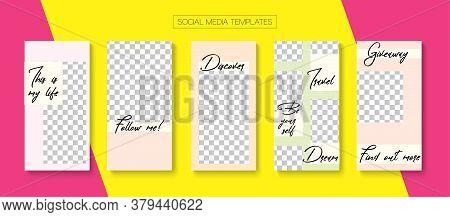 Modern Stories Vector Background. Blogger Funky Design, Social Media Kit Template. Trendy Sale, New