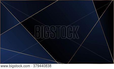 Blue Premium Polygon Pattern. Elegant Dark Platinum Chic Shapes Frame Rich Silver Vip Geometric Cele