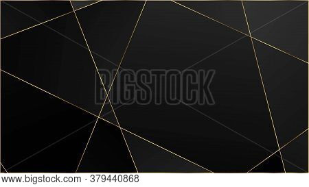 Black Luxury Polygon Texture. Silver Vip Rich Geometric Celebration Wallpaper. Gold Lines Triangular
