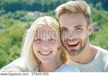 Happy Couple In Love. Close Up Photo Passionate Loving Family Woman Man Enjoy Spend Together. Toothy