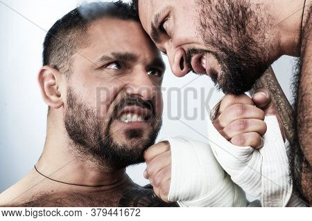 Angry Male Man Reflect In Mirror. Anger, Crush Test. Emotional Discharge