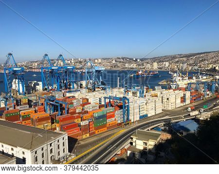Valparaíso / Chile - April 7 2018: The Port With The Highest Passenger Arrivals In The Country And T