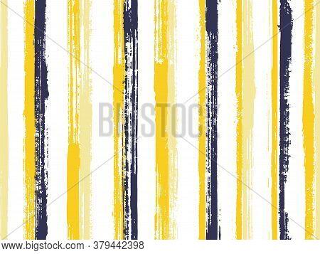 Pain Thin Grunge Stripes Vector Seamless Pattern. Traditional Swimwear Marine Design. Scratchy Geome